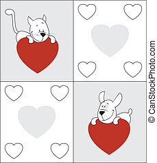 Cat and dog. Valentine's Day card Space for copy/text. May...