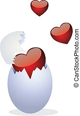 Chickens and Valentine's Day. Clip-art