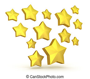 Gold stars falling isolated