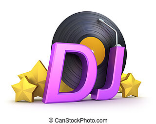 dj word with vinyl and stars isolated on white