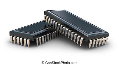 Computer chips isolated on white