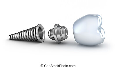 Dental implant lying on its side isolated on white