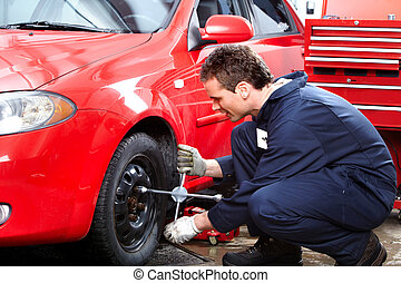 Auto repair - Mechanic changing wheel on car with a wrench