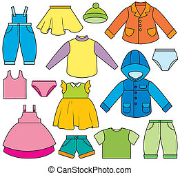 Childrens Clothing - A set of different types of clothing