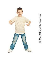 Boy in blank beige t-shirt - Full length of boy in blank...