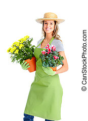 Gardening. Woman worker with flowers. Isolated over white...