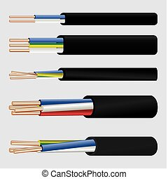 Electric copper cable - The vector image of a 2-wire, 3-wire...
