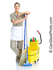 housewife cleaner Isolated over white background