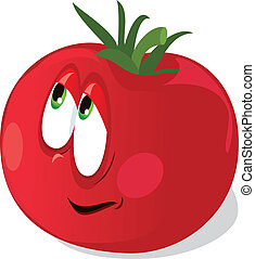Ripe tomato on a white background. Vector Image
