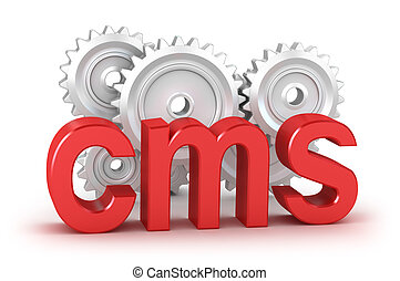 cms word with cogs in background isolated on white