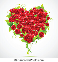Rose Heart - illustration of valentine card with heart made...