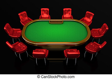 Poker table with chairs top side