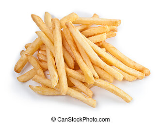 Fries french potatoes handful closeup isolated on white