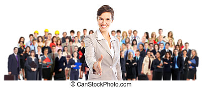Business team. - Large group of business people. Business...