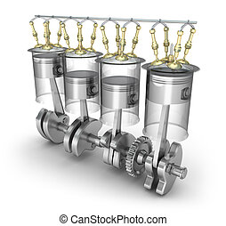 Engine pistons, injectors, valves