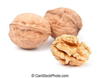 Walnuts cracked and intact isolated - Walnuts: cracked and...