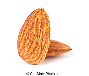 Almonds closeup isolated on white