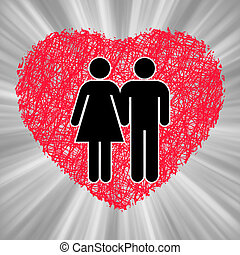 Conceptual image of Man and Woman in love. EPS 8