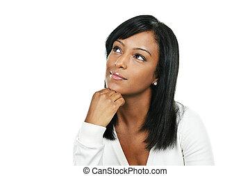 jovem, mulher, pensando