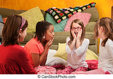 Surprised Little Girls - Surprised group of little girls at...