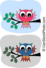 two owls in different colours