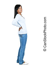 Woman with back pain - Black woman with back pain standing...