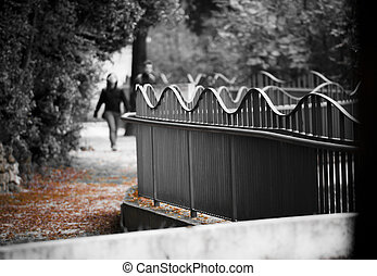 couple holding hands walking in a park