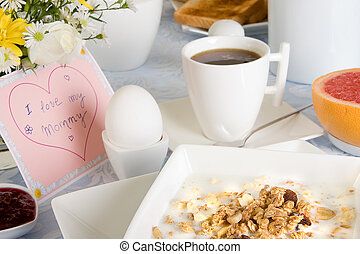 Mother's day coffee - Mother's day breakfast with coffee,...