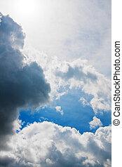 Dramatic sky with dark thunderclouds - Background of...