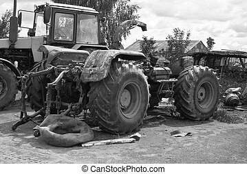Old tractors in black and white tones