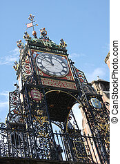 Chester Eastgate Clock, clear blue sky