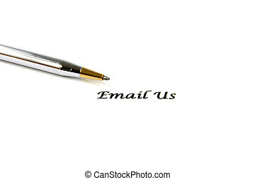 Contact Email Us Sign, with a pen