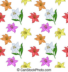 Background, flowers lily - Vector floral seamless...