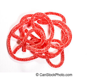 Red candy on white background