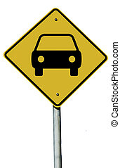 Car Sign - Car or Automobile sign isolated on a plain white...