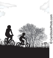 Mother and son on bikes - illustration of women and a boy in...