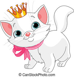 Kitten princess - Adorable white kitten with golden crown