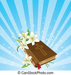 Bible and lily flowers background - Radial Easter place card...