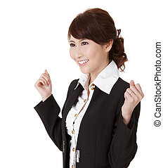 Excited young business woman of Asian, half length closeup...