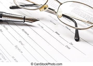 avtal, penna, Uppe, affär, nära