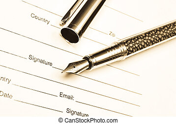 contratto, penna, su, affari, chiudere