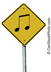 Musical Note Sign - A Musical note sign isolated on a plain...