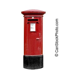 British Post Box - Classic British post pillar box isolated...