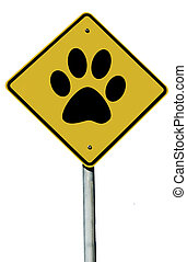 Animal Paw Prints Sign - Paw Print sign isolated on a plain...