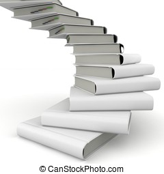 3d book spiral stair with blank cover