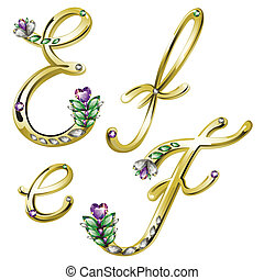 Gold jewelry alphabet letters E,F - Vector Volume shiny gold...
