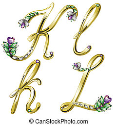 Gold jewelry alphabet letters K,L - Vector Volume shiny gold...