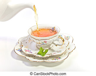 Cup of Tea at HIgh Tea - Delicate porcelain cup of tea for a...