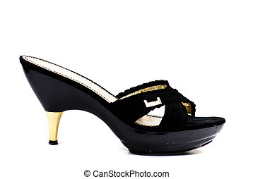 high heeled shoe black