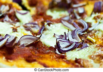A red onion pizza with mozzarella and tomatoes - A pizza...